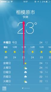 iPhone 天気 日の出 日の入り UV