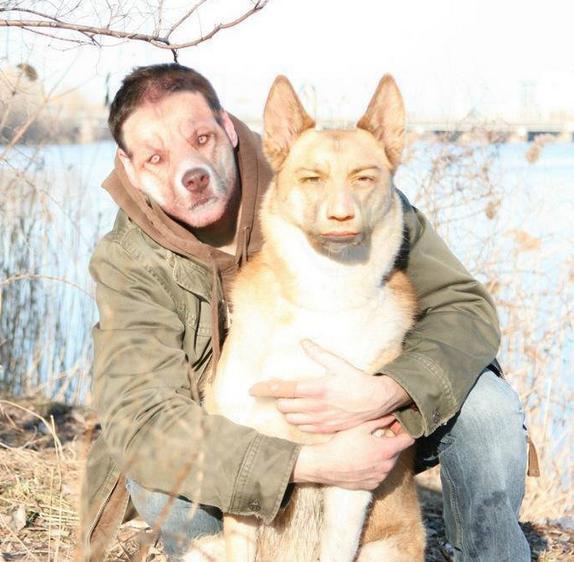 【電車内閲覧注意】フェイス・スワップ(顔交換)の画像がいずれも想像を超える【20枚】_飼い主、犬