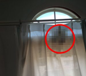 【閲覧注意】カーテンから部屋を覗き込む不気味な人影が激写されるが何故か怖くない画像