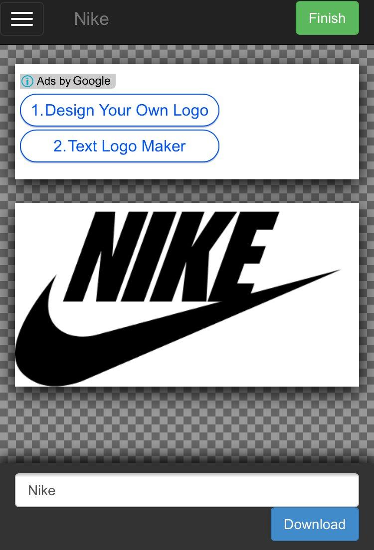 ナイキなどの企業ロゴの文字部分を自由に変更して画像保存ができる