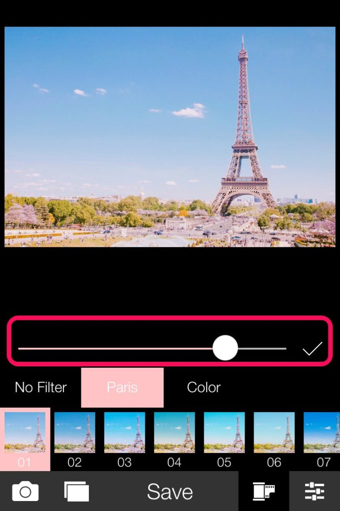 parisスライドバー_ピンクっぽいフィルターをかけれるiPhone向け画像編集アプリ6選とその使い方