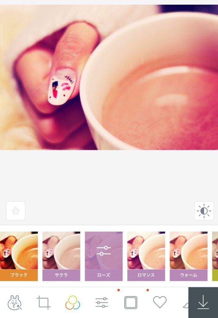 LineCameraローズ_ピンクっぽいフィルターをかけれるiPhone向け画像編集アプリ6選とその使い方